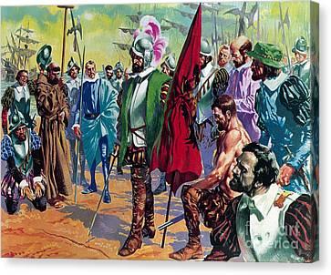 Hernando Cortes Arriving In Mexico In 1519 Canvas Print by English School