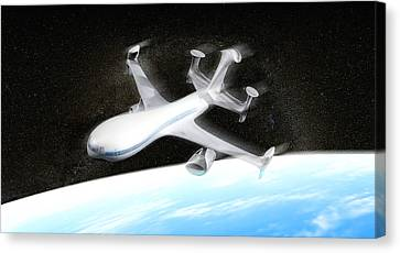 High Altitude Passenger Plane, Artwork Canvas Print by Christian Darkin