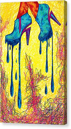 High Heels Abstraction Dripping Canvas Print by Pierre Louis