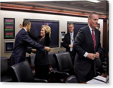 Hillary Clinton Joyfully Congratulates Canvas Print by Everett