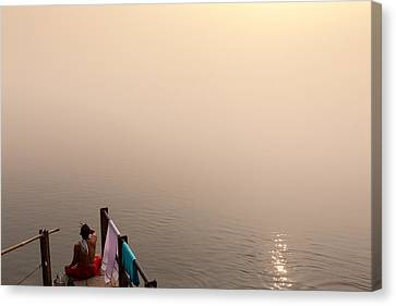 Hindu Brahmin Meditating In The Fog Canvas Print by Marji Lang