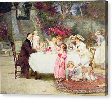 His First Birthday Canvas Print by Frederick Morgan