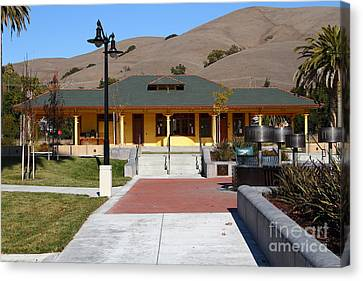 Historic Niles District In California Near Fremont . Niles Depot Museum And Niles Town Plaza.7d10698 Canvas Print by Wingsdomain Art and Photography