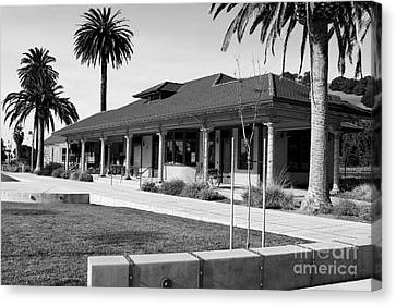 Historic Niles District In California Near Fremont . Niles Depot Museum And Town Plaza.7d10717.bw Canvas Print by Wingsdomain Art and Photography