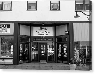Historic Niles District In California Near Fremont . Niles Essanay Silent Film Museum . 7d10683 Bw Canvas Print by Wingsdomain Art and Photography