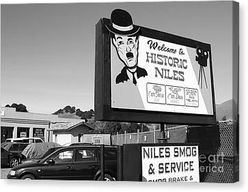 Historic Niles District In California Near Fremont . Welcome To Niles Sign . 7d10603 . Bw Canvas Print by Wingsdomain Art and Photography