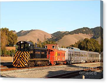 Historic Niles Trains In California . Old Southern Pacific Locomotive And Sante Fe Caboose . 7d10822 Canvas Print by Wingsdomain Art and Photography