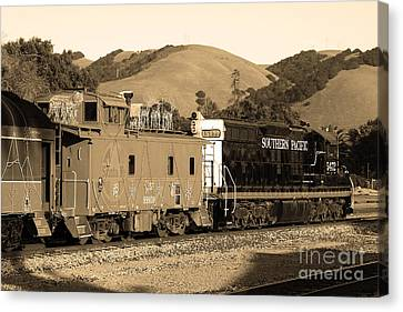 Historic Niles Trains In California.southern Pacific Locomotive And Sante Fe Caboose.7d10843.sepia Canvas Print by Wingsdomain Art and Photography