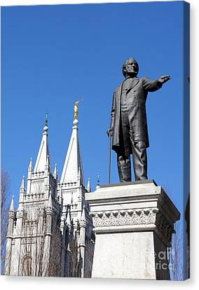 Historic Salt Lake Mormon Lds Temple And Brigham Young Canvas Print by Gary Whitton