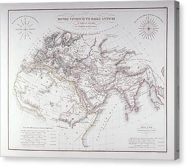 Historical Map Of The Known World Canvas Print by Fototeca Storica Nazionale