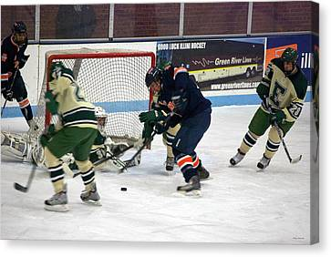Hockey One On Four Canvas Print by Thomas Woolworth