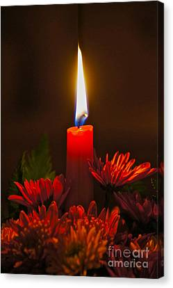 Holiday Candle Canvas Print by Sean Griffin