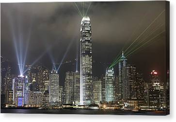 Hong Kong Light Show, At Night, Over Canvas Print by Axiom Photographic