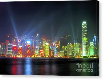 Hong Kong Night Lights Canvas Print by Bibhash Chaudhuri