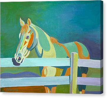 Horse In The Paddock Canvas Print by Thierry Keruzore