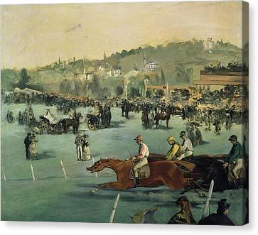 Horse Racing Canvas Print by Edouard Manet