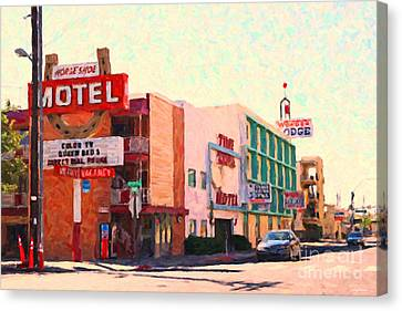 Horse Shoe Motel Canvas Print by Wingsdomain Art and Photography