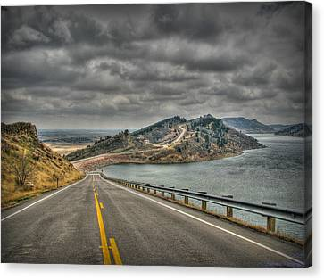 Horsetooth Reservoir Stormy Skies Hdr Canvas Print by Aaron Burrows