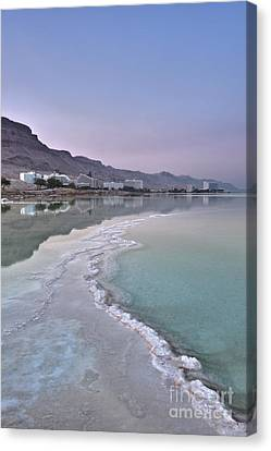 Hotel On The Shore Of The Dead Sea Canvas Print by Noam Armonn