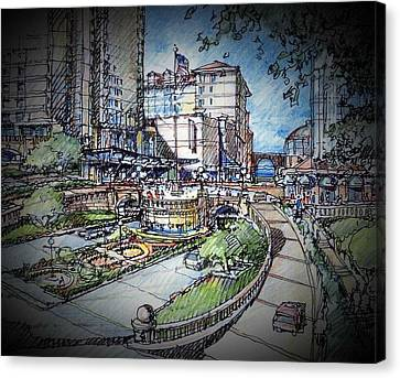 Hotel Plaza Canvas Print by Andrew Drozdowicz