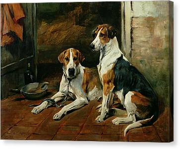 Hounds In A Stable Interior Canvas Print by John Emms