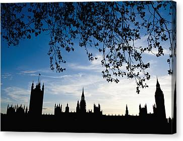 Houses Of Parliament Silhouette Canvas Print by Axiom Photographic