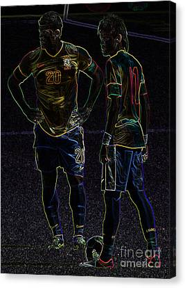Hulk And Neymar Neon II Canvas Print by Lee Dos Santos