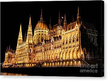 Hungarian Parliament Building Canvas Print by Mariola Bitner
