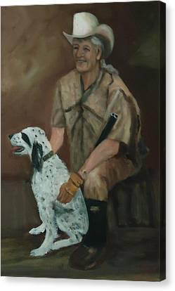 Hunting Dog And Master Canvas Print by Betty Pimm