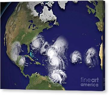 Hurricanes In 2010 Canvas Print by Padre Art
