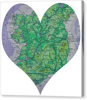 I Love Ireland Heart Map Canvas Print by Georgia Fowler