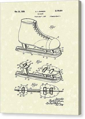 Ice Skate 1939 Patent Art Canvas Print by Prior Art Design