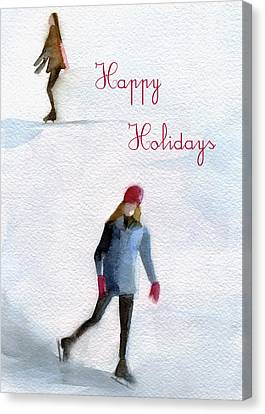 Ice Skaters Holiday Card Canvas Print by Beverly Brown