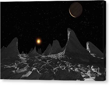 Ice Spires On Jupiters Large Moon Canvas Print by Ron Miller