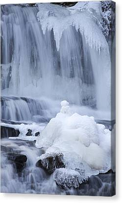 Icy Winter Waterfall Canvas Print by John Stephens