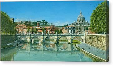 Il Fiumi Tevere Roma Canvas Print by Richard Harpum