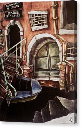 Il Portone Verde Canvas Print by Arte Venezia