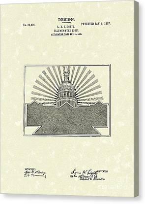Illuminated Sign Design 1907 Patent Art Canvas Print by Prior Art Design
