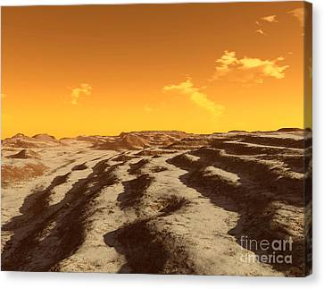 Illustration Of Terraced Terrain Canvas Print by Ron Miller