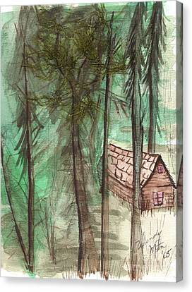 Imaginary Cabin Canvas Print by Windy Mountain