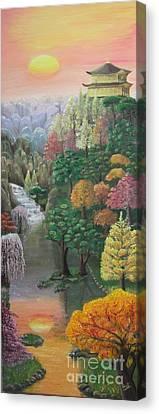 Imagined Autumn In Japan Canvas Print by Ana Maria  Garcia Ruiz