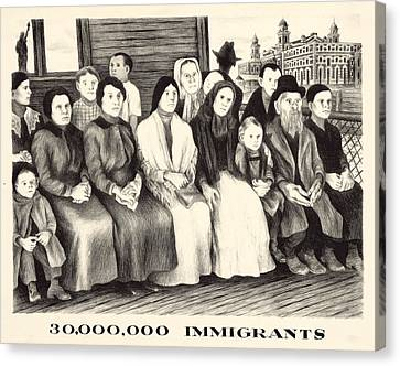 Immigrants. Shows A Group Of Immigrants Canvas Print by Everett