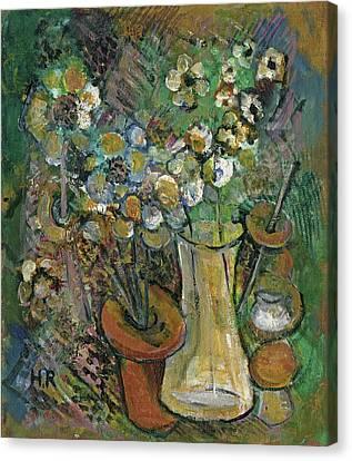Impression Of Flowers Vase Canvas Print by Rachel Hershkovitz