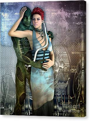 In Love With An Alien Canvas Print by Jutta Maria Pusl