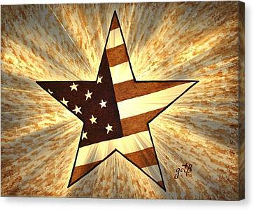 Independence Day Stary American Flag Canvas Print by Georgeta  Blanaru
