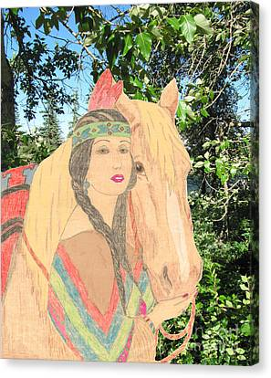 Indian Princess And Horse Canvas Print by Donna Munro