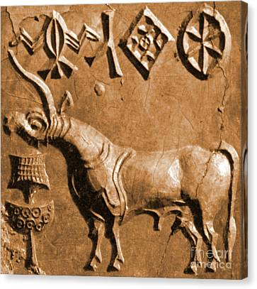 Indus Valley Unicorn Relief Canvas Print by Science Source