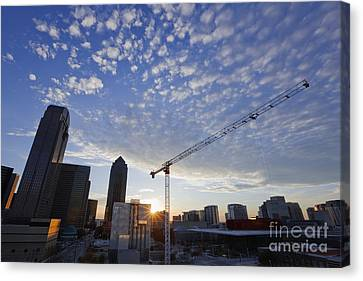 Industrial Crane Within City Skyline Canvas Print by Jeremy Woodhouse
