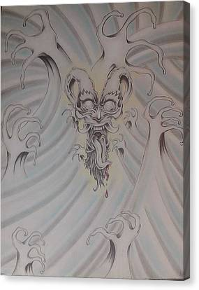 Ink And Pastel Oriental Style Dragon And Waves Canvas Print by Andrew Longhi