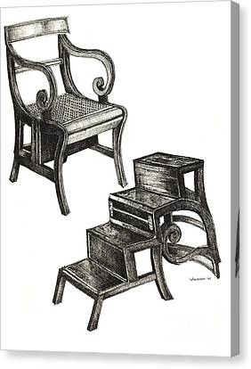 Ink Drawing Of Regency Metamorphic Chair Canvas Print by Adendorff Design
